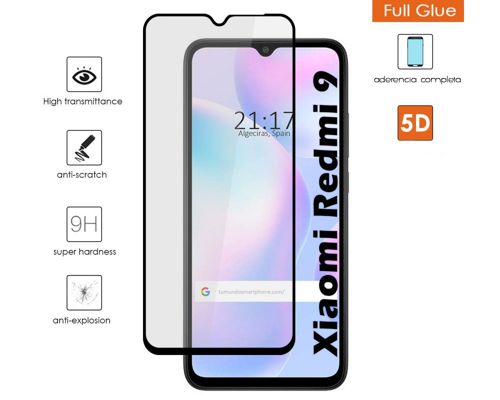 Protector Cristal Templado Completo 5D Full Glue Negro para Xiaomi Redmi 9A