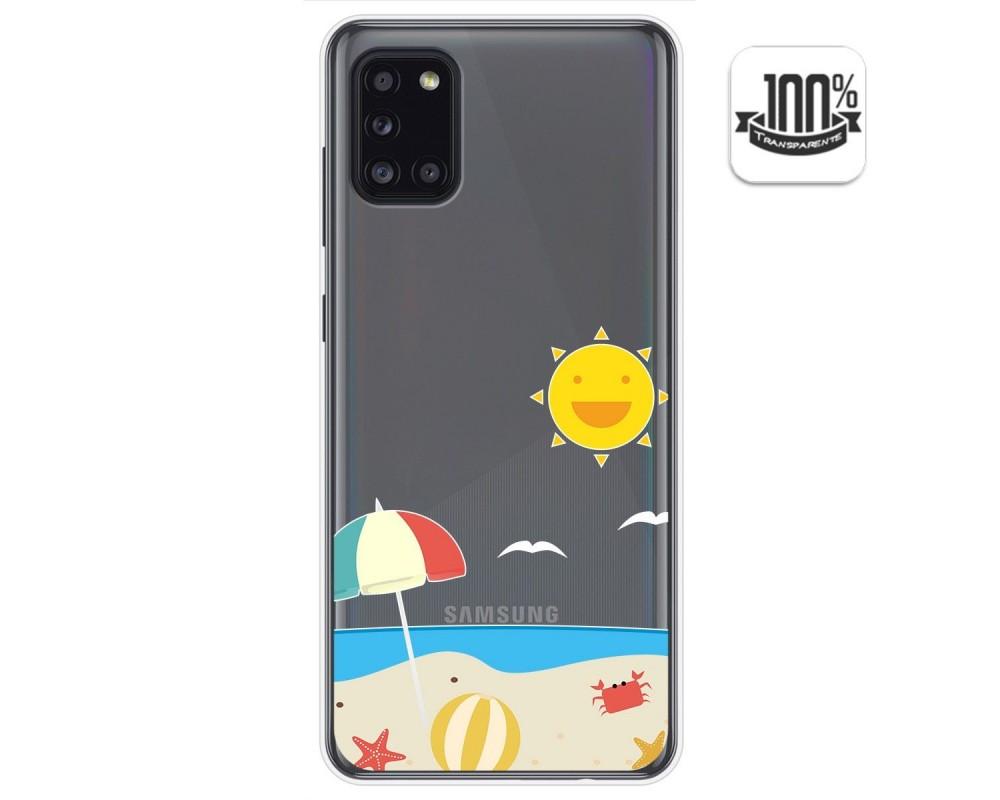 Funda Gel Transparente para Samsung Galaxy A31 diseño Playa Dibujos