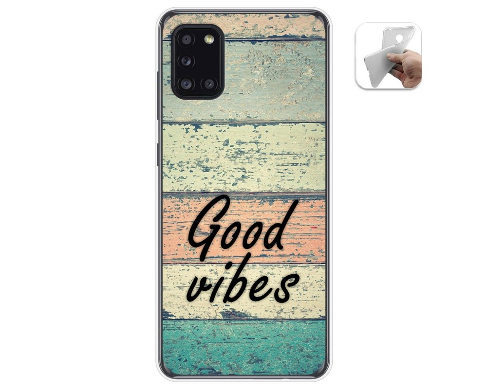 Funda Gel Tpu para Samsung Galaxy A31 diseño Madera 01 Dibujos