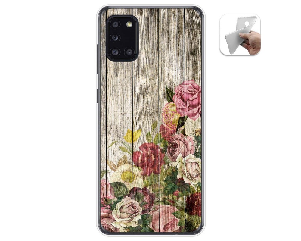 Funda Gel Tpu para Samsung Galaxy A31 diseño Madera 08 Dibujos