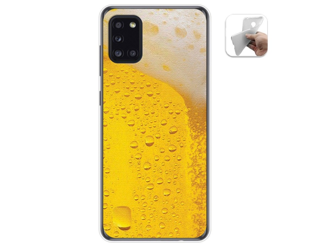Funda Gel Tpu para Samsung Galaxy A31 diseño Cerveza Dibujos