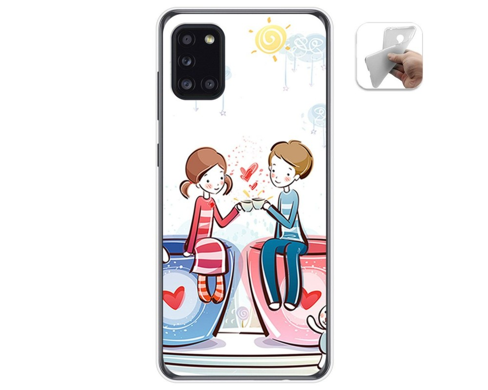 Funda Gel Tpu para Samsung Galaxy A31 diseño Café Dibujos