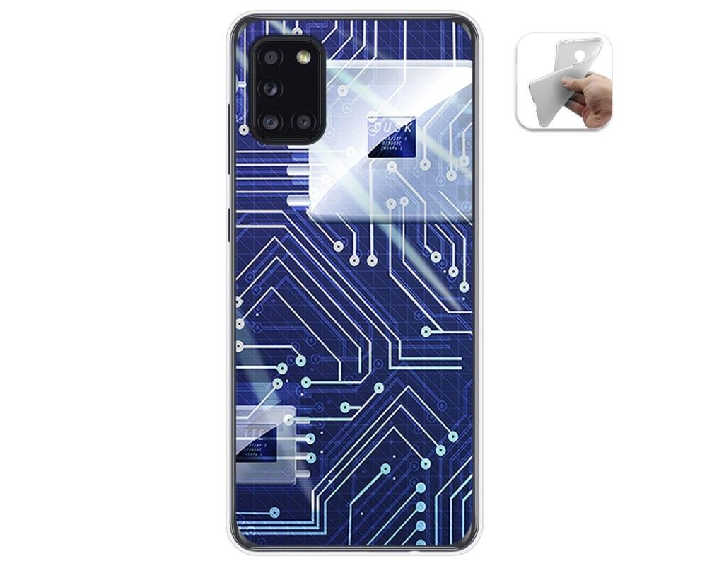 Funda Gel Tpu para Samsung Galaxy A31 diseño Circuito Dibujos