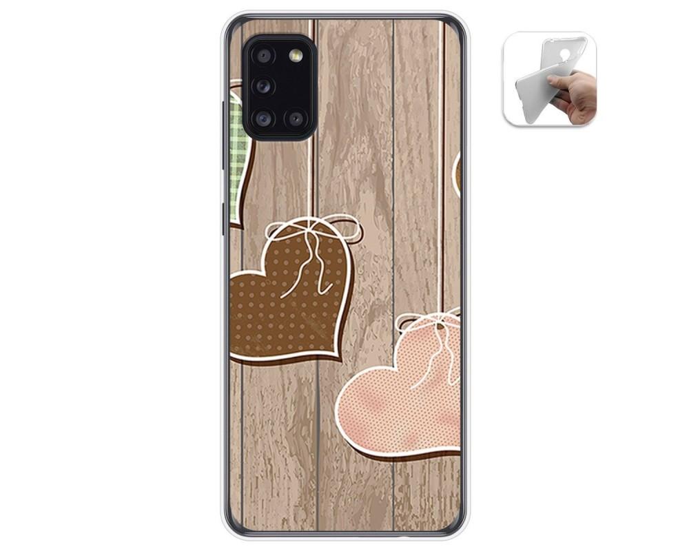 Funda Gel Tpu para Samsung Galaxy A31 diseño Corazones Madera Dibujos