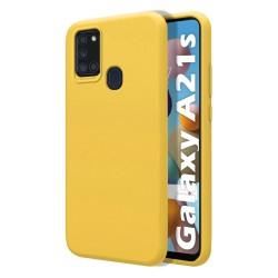 Funda Silicona Líquida Ultra Suave para Samsung Galaxy A21s color Amarilla