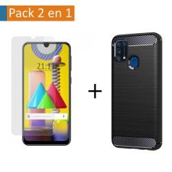 Pack 2 En 1 Funda Gel Tipo Carbono + Protector Cristal Templado para Samsung Galaxy M31