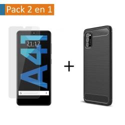Pack 2 En 1 Funda Gel Tipo Carbono + Protector Cristal Templado para Samsung Galaxy A41