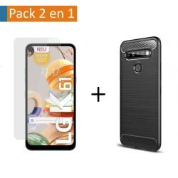 Pack 2 En 1 Funda Gel Tipo Carbono + Protector Cristal Templado para Lg K61