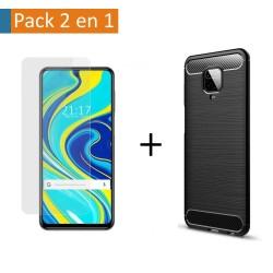 Pack 2 En 1 Funda Gel Tipo Carbono + Protector Cristal Templado para Xiaomi Redmi Note 9S / Note 9 Pro