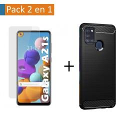 Pack 2 En 1 Funda Gel Tipo Carbono + Protector Cristal Templado para Samsung Galaxy A21s