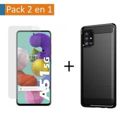 Pack 2 En 1 Funda Gel Tipo Carbono + Protector Cristal Templado para Samsung Galaxy A51 5G
