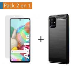 Pack 2 En 1 Funda Gel Tipo Carbono + Protector Cristal Templado para Samsung Galaxy A71 5G