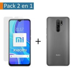 Pack 2 En 1 Funda Gel Transparente + Protector Cristal Templado para Xiaomi Redmi 9
