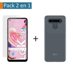 Pack 2 En 1 Funda Gel Transparente + Protector Cristal Templado para Lg K51s