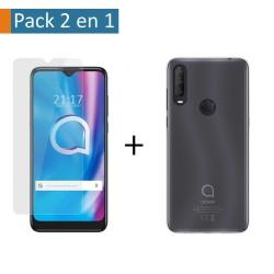 Pack 2 En 1 Funda Gel Transparente + Protector Cristal Templado para Alcatel 1SE 2020