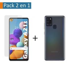 Pack 2 En 1 Funda Gel Transparente + Protector Cristal Templado para Samsung Galaxy A21s
