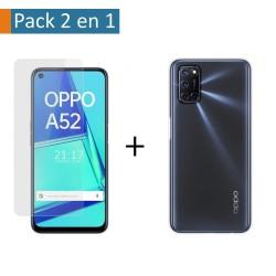 Pack 2 En 1 Funda Gel Transparente + Protector Cristal Templado para Oppo A52 / A72