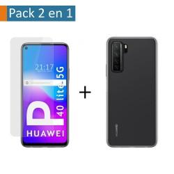 Pack 2 En 1 Funda Gel Transparente + Protector Cristal Templado para Huawei P40 Lite 5G