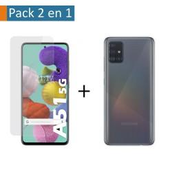 Pack 2 En 1 Funda Gel Transparente + Protector Cristal Templado para Samsung Galaxy A51 5G