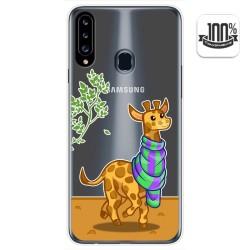 Funda Gel Transparente para Samsung Galaxy A20s diseño Jirafa Dibujos