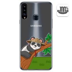 Funda Gel Transparente para Samsung Galaxy A20s diseño Panda Dibujos