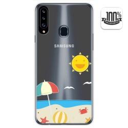 Funda Gel Transparente para Samsung Galaxy A20s diseño Playa Dibujos