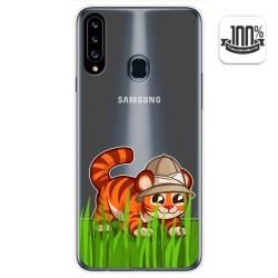 Funda Gel Transparente para Samsung Galaxy A20s diseño Tigre Dibujos