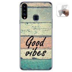 Funda Gel Tpu para Samsung Galaxy A20s diseño Madera 01 Dibujos
