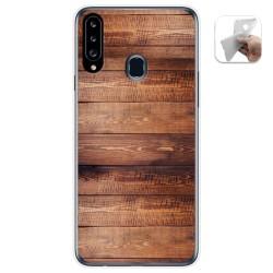 Funda Gel Tpu para Samsung Galaxy A20s diseño Madera 02 Dibujos