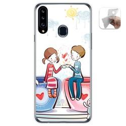 Funda Gel Tpu para Samsung Galaxy A20s diseño Café Dibujos