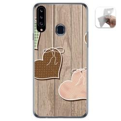 Funda Gel Tpu para Samsung Galaxy A20s diseño Corazones Madera Dibujos