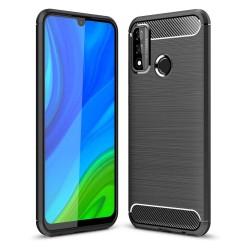 Funda Gel Tpu Tipo Carbon Negra para Huawei P Smart 2020