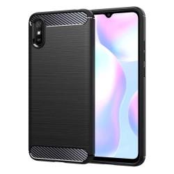 Funda Gel Tpu Tipo Carbon Negra para Xiaomi Redmi 9A