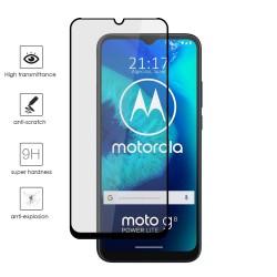 Protector Cristal Templado Completo 5D Full Glue Negro para Motorola Moto G8 Power Lite Vidrio