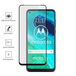 Protector Cristal Templado Completo 5D Full Glue Negro para Motorola Moto G8 Vidrio