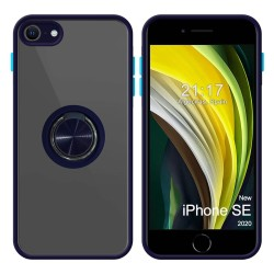 Funda Mate con Borde Azul y Anillo Giratorio 360 para Iphone SE 2020