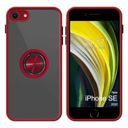 Funda Mate con Borde Rojo y Anillo Giratorio 360 para Iphone SE 2020