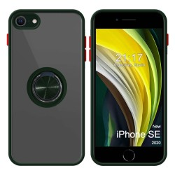 Funda Mate con Borde Verde y Anillo Giratorio 360 para Iphone SE 2020