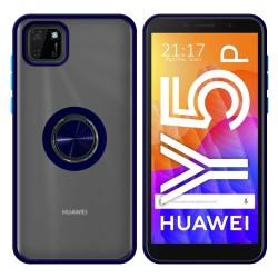 Funda Mate con Borde Azul y Anillo Giratorio 360 para Huawei Y5p