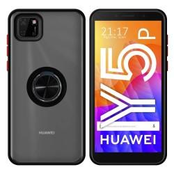 Funda Mate con Borde Negro y Anillo Giratorio 360 para Huawei Y5p