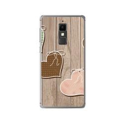 Funda Gel Tpu para Elephone S3 Diseño Corazones Madera Dibujos