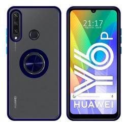 Funda Mate con Borde Azul y Anillo Giratorio 360 para Huawei Y6p