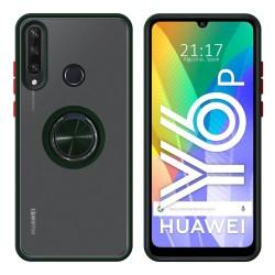Funda Mate con Borde Verde y Anillo Giratorio 360 para Huawei Y6p