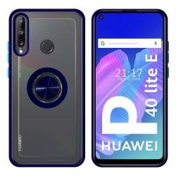 Funda Mate con Borde Azul y Anillo Giratorio 360 para Huawei P40 Lite E