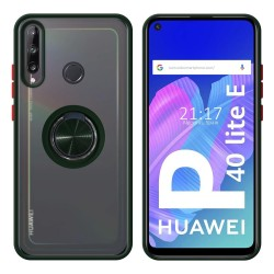 Funda Mate con Borde Verde y Anillo Giratorio 360 para Huawei P40 Lite E