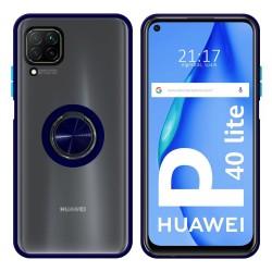 Funda Mate con Borde Azul y Anillo Giratorio 360 para Huawei P40 Lite