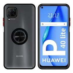 Funda Mate con Borde Negro y Anillo Giratorio 360 para Huawei P40 Lite