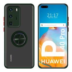 Funda Mate con Borde Verde y Anillo Giratorio 360 para Huawei P40 Pro