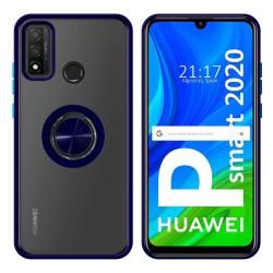 Funda Mate con Borde Azul y Anillo Giratorio 360 para Huawei P Smart 2020