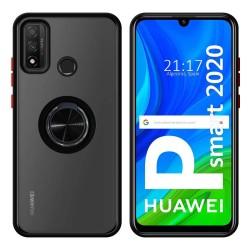 Funda Mate con Borde Negro y Anillo Giratorio 360 para Huawei P Smart 2020